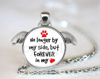 No Longer By My Side, Forever In My Heart Pendant Necklace with Angel Wings - Memorial Pendant with Paw Print Organza Bag