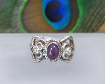 Amethyst Ring ~ February Birthstone Ring ~ Sterling Silver Statement Ring ~ Purple Cabochon Ring - Size 6 or 7