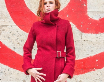Women's Ruby Red melange merino boiled wool knit winter coat with tall collar and buckle