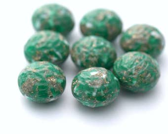 Vintage Textured Lucite Round Pillow Beads Green White Gold 19mm (6)