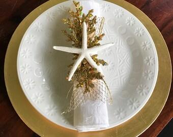 Napkin Ring Set - White Starfish  with Gold  and Mesh Ribbon - Beach Wedding - seashore - shells