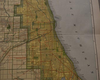 1912 City Map Chicago Illinois - Vintage Antique Map Great for Framing 100 Years Old