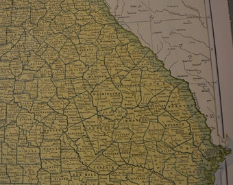 1943 State Map Georgia - Vintage Antique Map Great for Framing