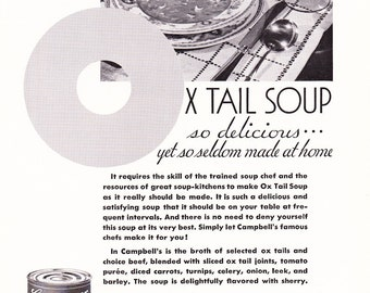 1930s Advertisement - Campbells Ox Tail Soup - Vintage Antique 30s Era Art Ad for Framing