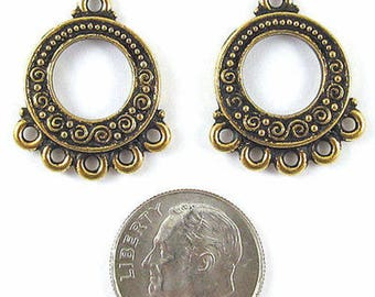 Pewter Earring Chandelier Connectors-GOLD SPIRALS & BEADS (2)