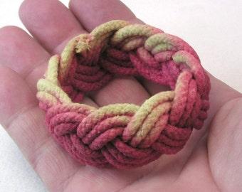 red yellow ombré rope bracelets cotton dip dyed  turks head knot bracelets 3984