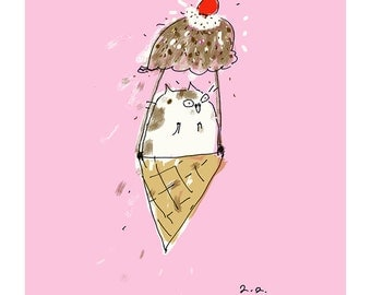 Ice Cream Float - Cat Print - Ice Cream Cat Art - Kitchen Art