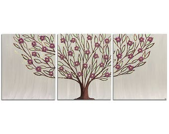 Tree Canvas Art in Warm Gray with Sculpted Red Flowers on Triptych Wall Painting - Large 50x20