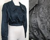 RESERVED 1910s Vintage Edwardian Black Beaded Silk Bodice Size M