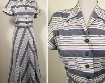 Late 1940s Grey, White, Yellow & Lavender Striped Vintage Dress SZ S