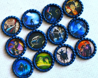 Harry Potter Bottlecap Magnets- Gift for Reader- Harry Potter Kitchen Decor- Fridge Magnets- Hogwarts- Harry Potter Gift- Gift Under 15