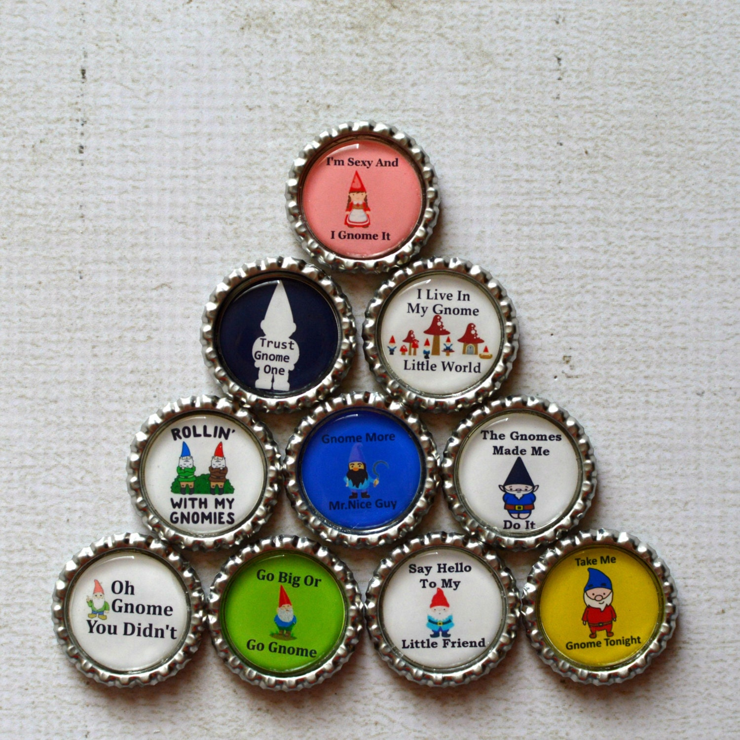 Funny Gnomes: Funny Gnome Bottlecap Magnets Gnome Decor Kitchen Magnets
