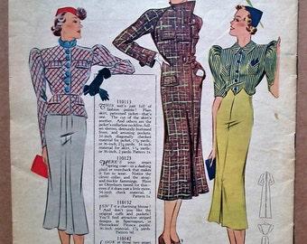 Weldon's Ladies' Journal Portfolio of Fashions No. 693 1937 30s sewing pattern catalog magazine dresses suits lingerie 1930s fashions UK mag