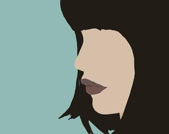 "Modern, Minimal Portrait ""Cara"" by Jules Tillman - Fine Art Lustre Print minimal woman abstract portraiture dusty aqua short black hair"