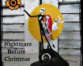 NiGHTMaRe BeFoRe CHRiSTMaS - JaCK, SaLLY & ZeRo in front of a large MooN