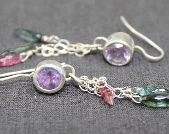 Amethyst Tourmaline Drop Earrings, Amethyst Drop Earrings, Gemstone Drop Earrings, Amethyst Dangle Earrings