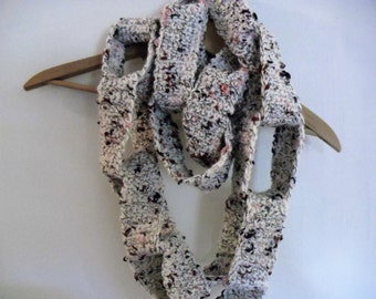 Crocheted Scarf Oatmeal Scarf Crocheted Chain Scarf Infinity Scarf