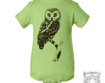 Baby One-Piece OWL Eco screen printed (+ Color Options) FREE Shipping