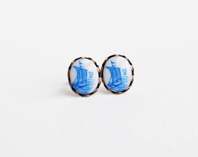 Sailboat Cameo Stud Earrings Sail Boat Studs Nautical Post Earrings Vintage Blue Delft Cameo Jewelry Hypoallergenic Studs Nautical Jewelry