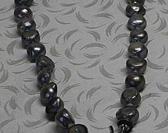 Grey Pearl Necklace with ROCK CRYSTAL PENDANT