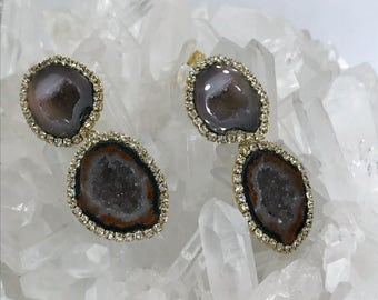 Tabasco Geode Druzy Double Dangle Diamond Pave Bezel Style Diamond Gem Slice Wedding Earring Beach Bride Red Carpet Black Tie - Diana