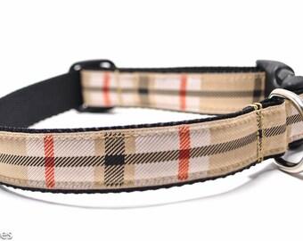 Tan Red Black Plaid / Martingale or Buckle Custom Dog Collar