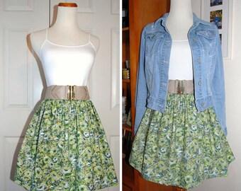 Cotton Skirt Vintage Style Skirt Gathered Elastic Waist Skirt Green Floral Skirt Womans Skirt Everyday Skirt Multi Sizes Handdmade USA