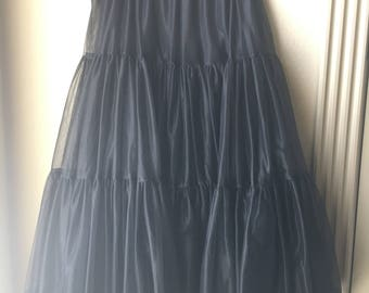 Vintage Full Black Petticoat Half Slip with Two Layers of Sheer Nylon with Lace Hems - Elastic Waist - Handmade