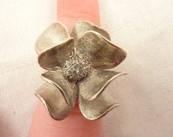 Vintage Brushed Sterling Silver Cubic Zirconia Flower Ring Size 6 1/8.