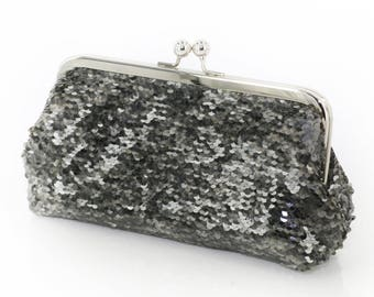 Metallic Pewter Charcoal Sequins Clutch | Bridesmaids | Mother's Clutch | Ready to Ship