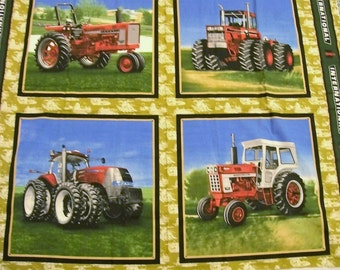 International Tractor Fabric Panel, International Harvester Fabric, Tractor Fabric Panel, VIP Cranston Fabric, Quilt Squares, Tractor Scene