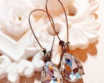 SALE 20% Off Victorian Earrings - White Diamond Jewelry - Jewelry Gift - Crystal Earrings - SOMERSET Crystal