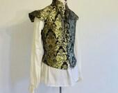 Readywear Renaissance Doublet Black And Gold Damask Lace Up Sz Sm & XXL