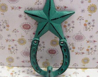 Star Horseshoe Cast Iron Hook Cowboy Shabby Chic Turquoise Home Decor