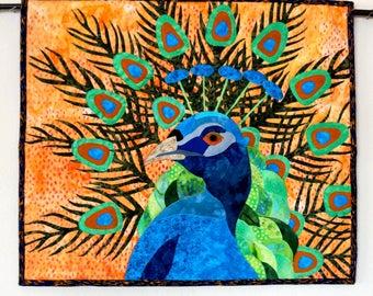 RESERVED for ZZ = Peacock Art Quilt Wall Hanging Tropical Art Quilt Handmade Piper Bird Quilt Original Design OOAK