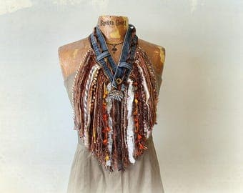 Cowgirl Scarf Rustic Western Boho Fringe Necklace Mori Girl Country Clothing Brown Tribal Scarf Bohemian Festival Women's Art Scarf 'SAMMI'