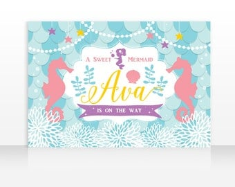 Mermaid Party Decoration, Mermaid Banner Backdrop, Little Mermaid Birthday, Mermaid Theme, 60x40in. Digital File, HIGH RESOLUTION FILE