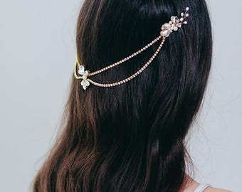 Bridal Hair Chain | Gatsby Style Crystal Hairpiece | Wedding Hair Accessories | Gold Headpiece | Bridal Hair Vine [Saoirse Headpiece]
