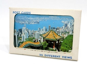 28 Vintage Hong Kong Postcards / Unused 4 x 6 Post Cards / 1950's Paper Ephemera / Chinese Dragon / Tiger Pagoda / Tramway / Color Postcards