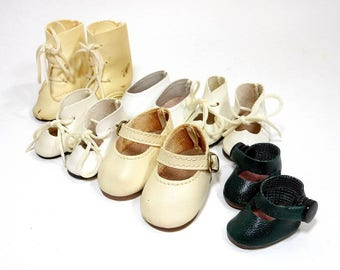 6 Pairs Vintage Doll Shoes / Doll Boots Slip Ons Lace Tie Snap Buckle Shoes / Play Pretend Doll Accessories / Crafting Supplies