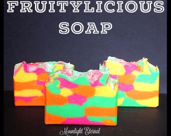 Clearance! - Fruitylicious Artisan Soap - Handmade Soap - Fruity Fragrance - Bar Soap - With Silk - 100% From Scratch