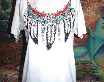 Native T Shirt, Western Shirt, Feather T shirt, Tribal shirt, Southwestern shirt, 80s shirt, size M
