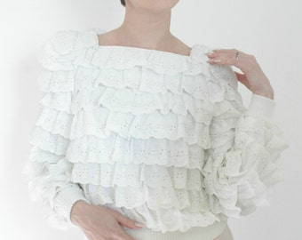 The Little Lamb | Vintage Eyelet Ruffle Sweatshirt | White Bridal 3D Blouse | Medium M