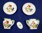 Vintage Mother Goose Miniature/Dollhouse Size Hand Painted Porcelain 5 Piece Tea Set