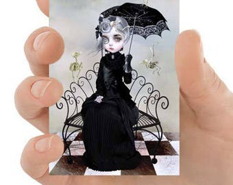 Gothic ACEO Card - Girl & Skeleton Birds - Gothic Art - Goth Girl Art - You Will Always Be A Part Of Me