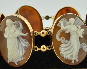 Victorian 6 Very Large Hand Carved Angel Shell Cameo's Set in 14K Yellow Gold Bracelet