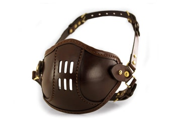 STEAMPUNK LEATHER Mask brown leather refined SMPL/a Raider design
