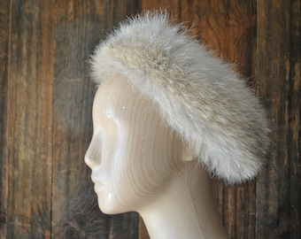 Fox Fur Headband / earmuffs hat / ear warmer / light brown