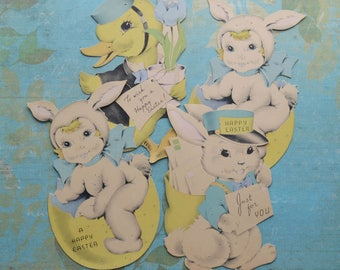 4 Vintage Easter Bunnies & Duck Die-Cut Decorations