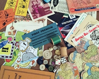 Crafty Craft Pack Supplies, Vintage Buttons, Paper Ephemera Booklets, Hand and Die Cut Map Hearts, Postcards, Photos, Dice, Thread, and MORE